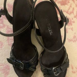 Black wedge strap dress shoes. Size 7 1/2.